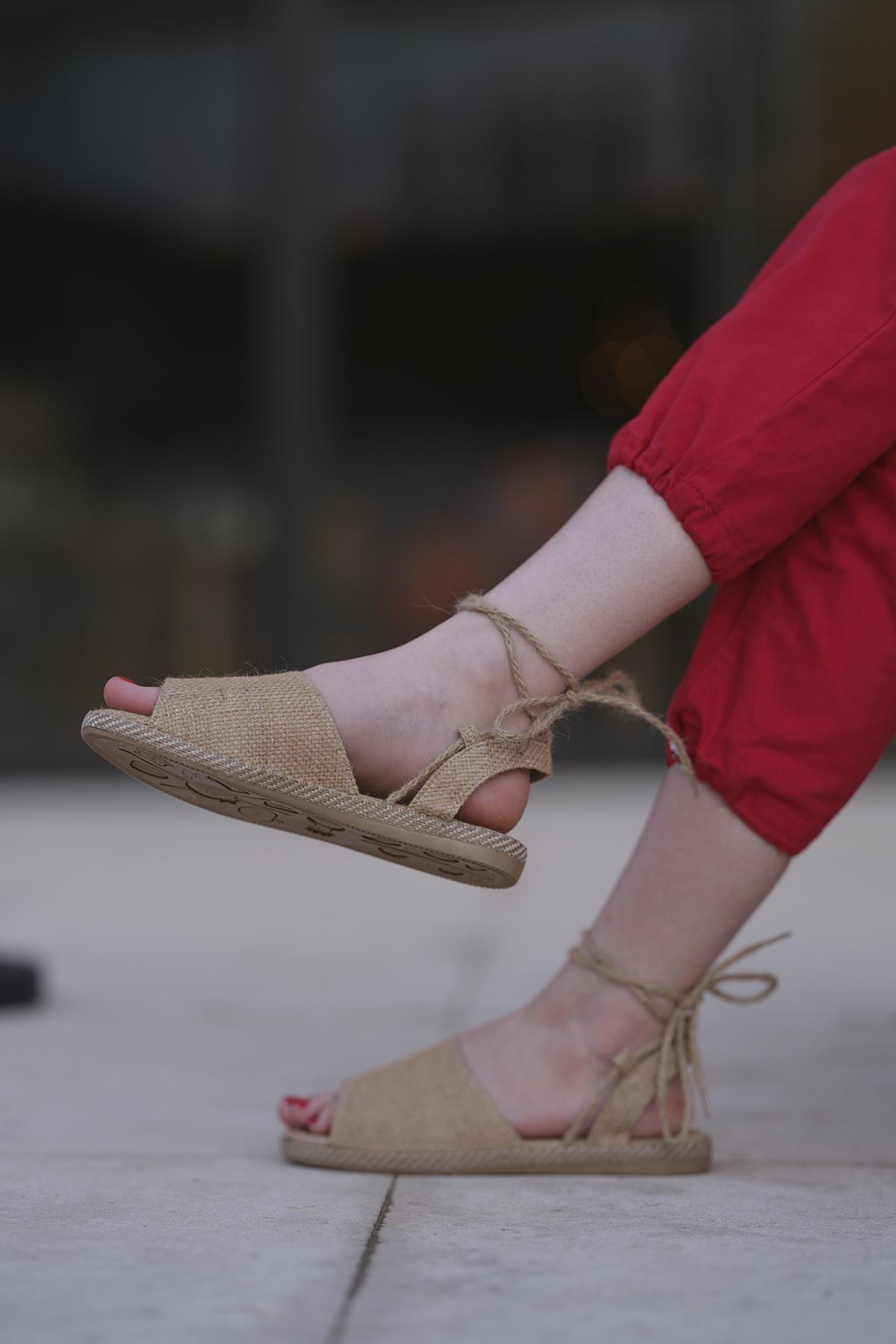 Oksit Giyim - Florin 566 Hasır Bağlamalı Kadın Sandalet