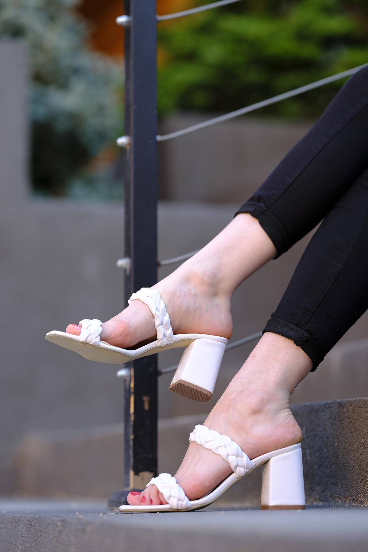 Oksit Giyim - Ula Örgü Model Kadın Topuklu Ayakkabı